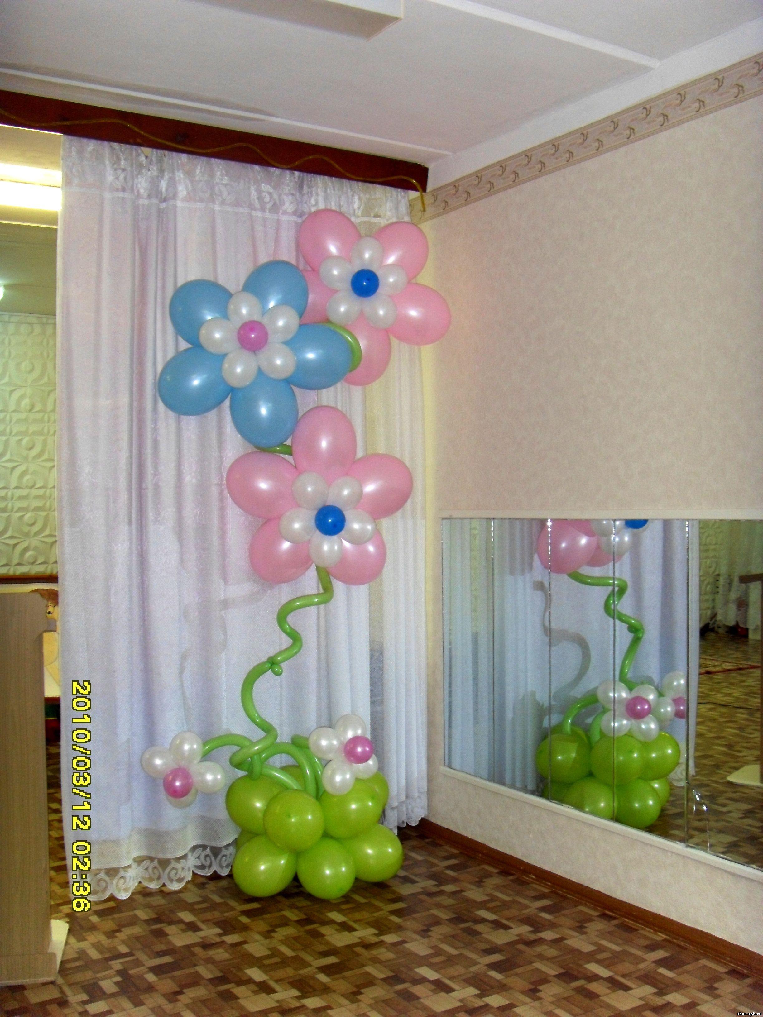 Оформление цветами из шаров фото